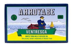 Arroyabe  Ventresca Bonito Tuna Belly (toro)  3.9 oz.  fatty, small fish, tinned fish, healthy,